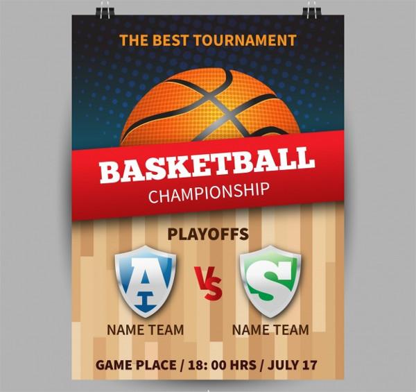 Basketball Championship Poster Free Vector