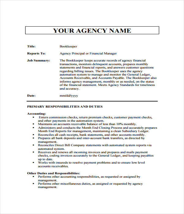 21 Job Description Templates Free Word Pdf Documents