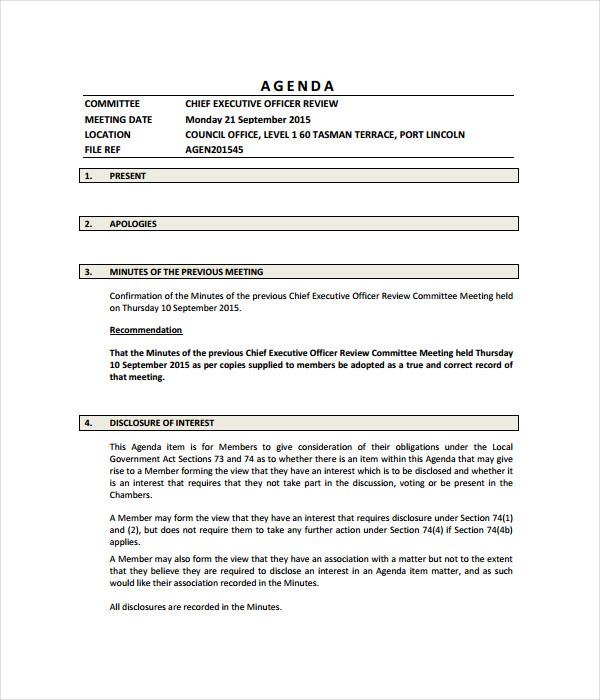 Committee Agenda Template