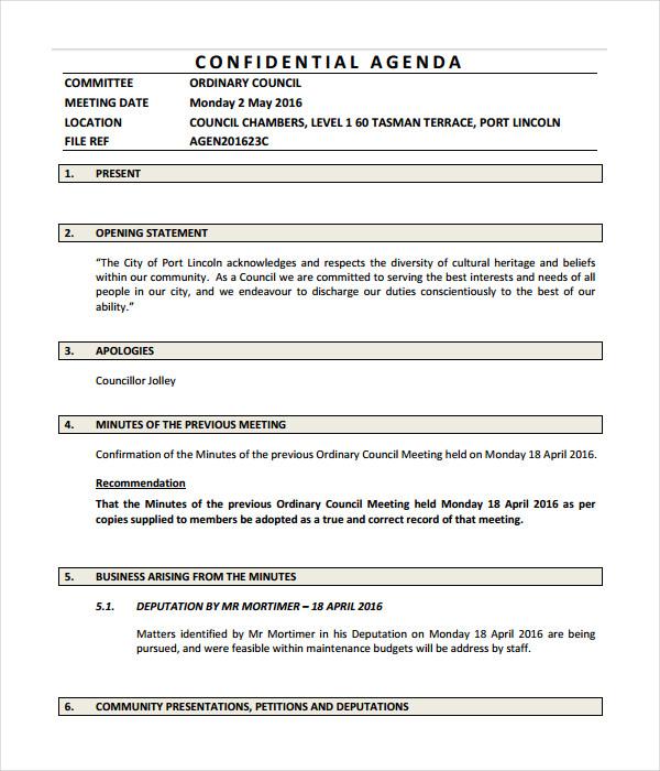 Confidential Agenda Template