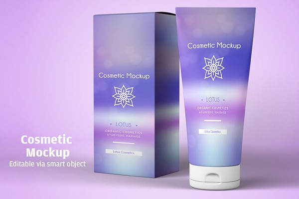 Cream Cosmetic package Mockup