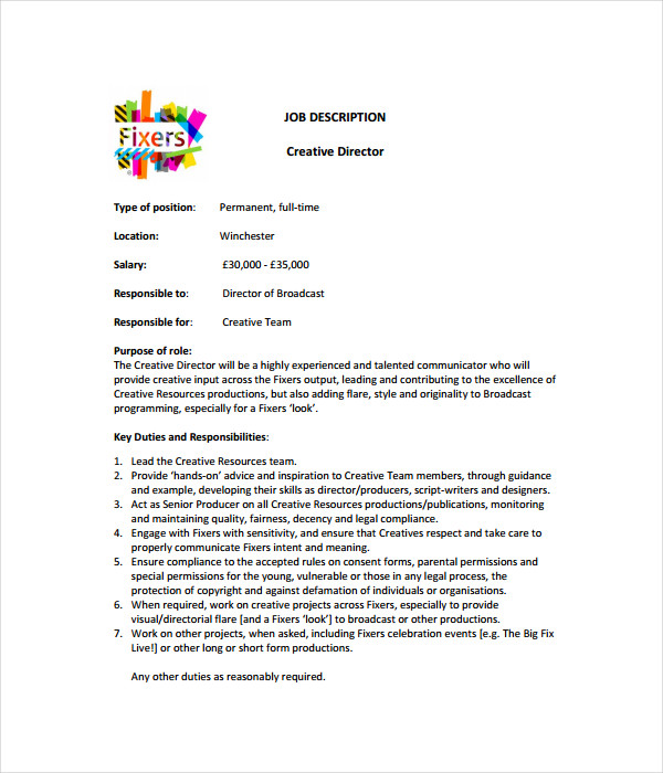 21 Job Description Templates Free Word Pdf Documents