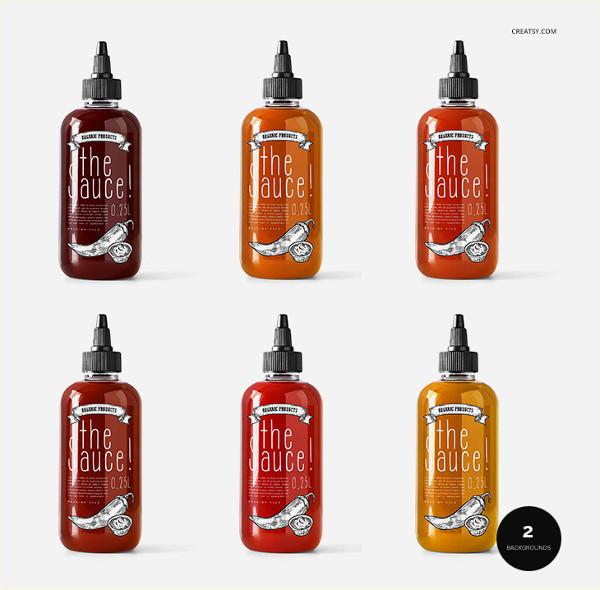 Custom Sauce Bottle Mockup