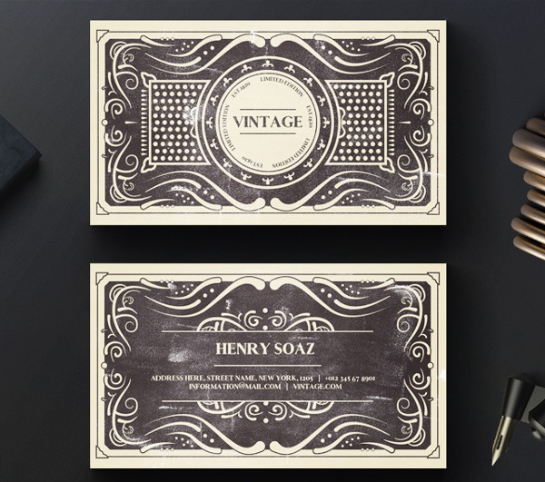 Elegant Black Vintage Business Cards