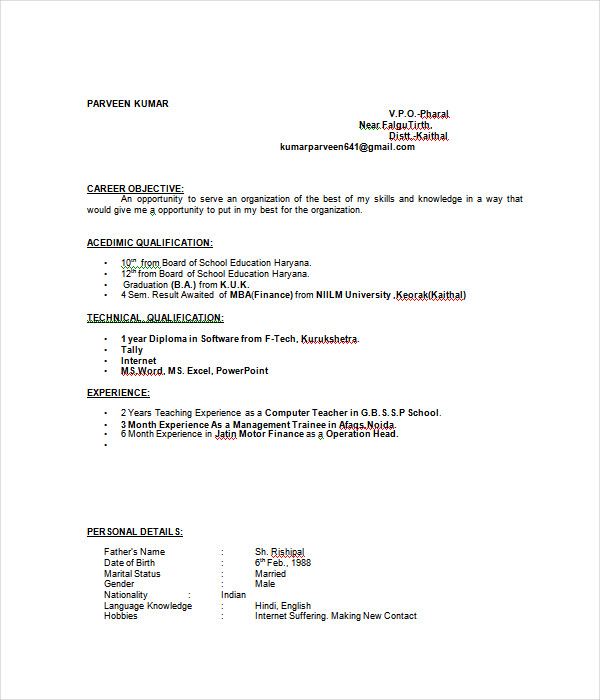 27+ Resume Templates - Free Word, PDF Documents Download