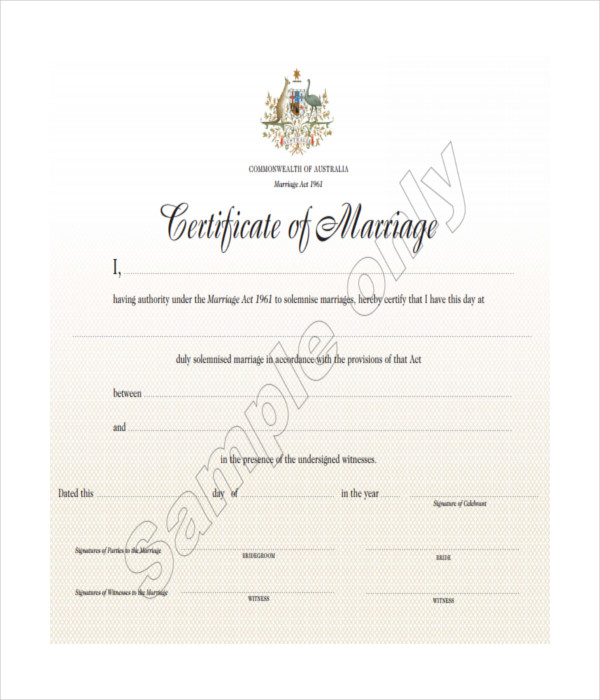 Marriage Certificate PDF Free Download