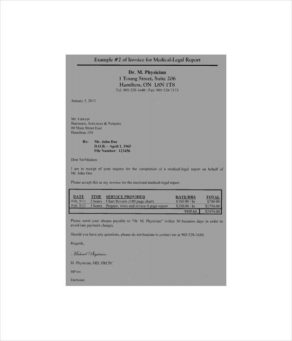 Medical Report Invoice Template