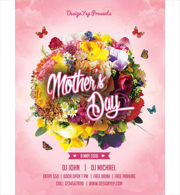 Pink Mothers Day Flyer Template For Free Download On Pngtree: 25+ Mother's Day Flyer Templates