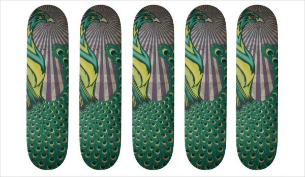 Peacock Skateboard Design