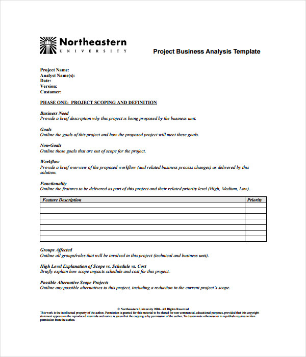 Project Business Analysis Template