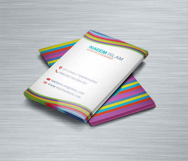 Rainbow Style Vertical Business Card