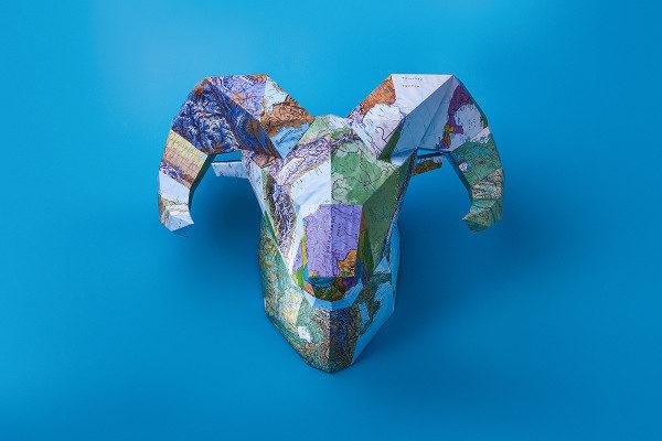 Ram Head Paper Art