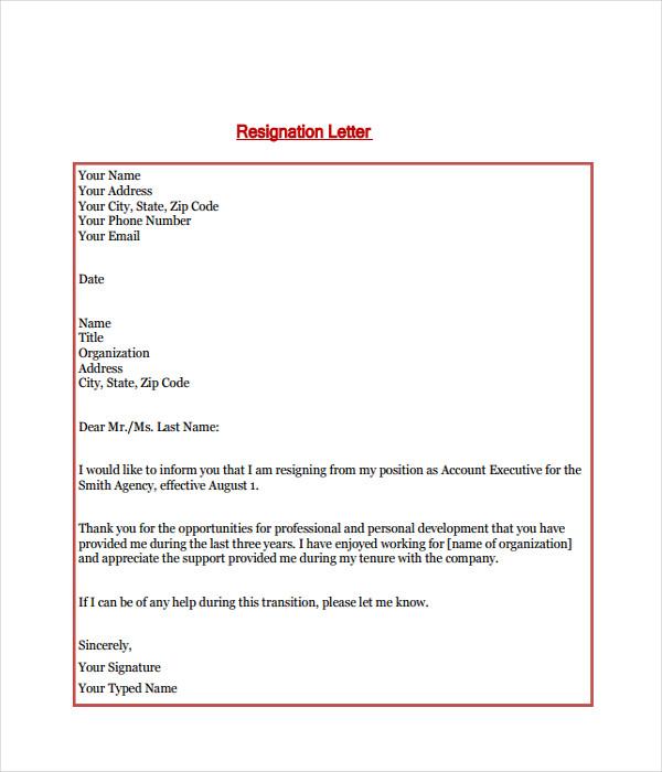Resignation Letter PDF Format Free Download