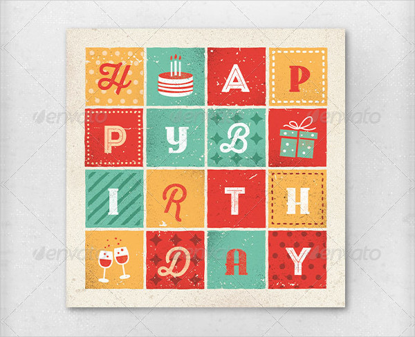 Retro Letters Birthday Cards