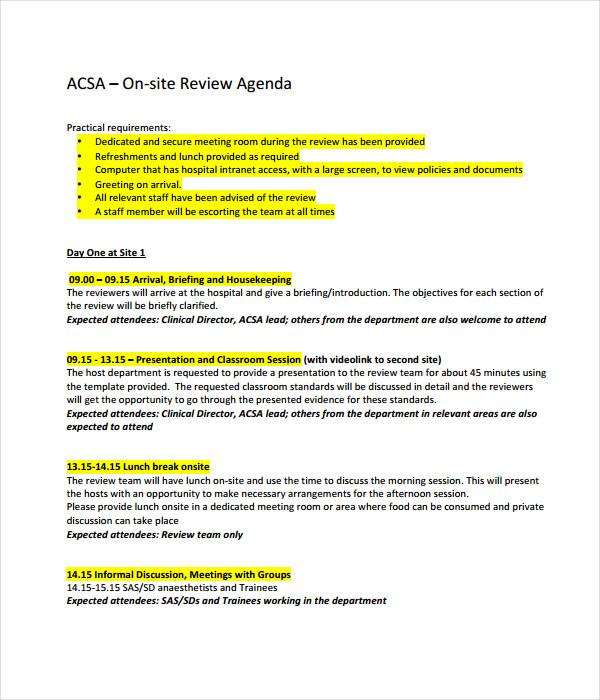 19  agenda templates