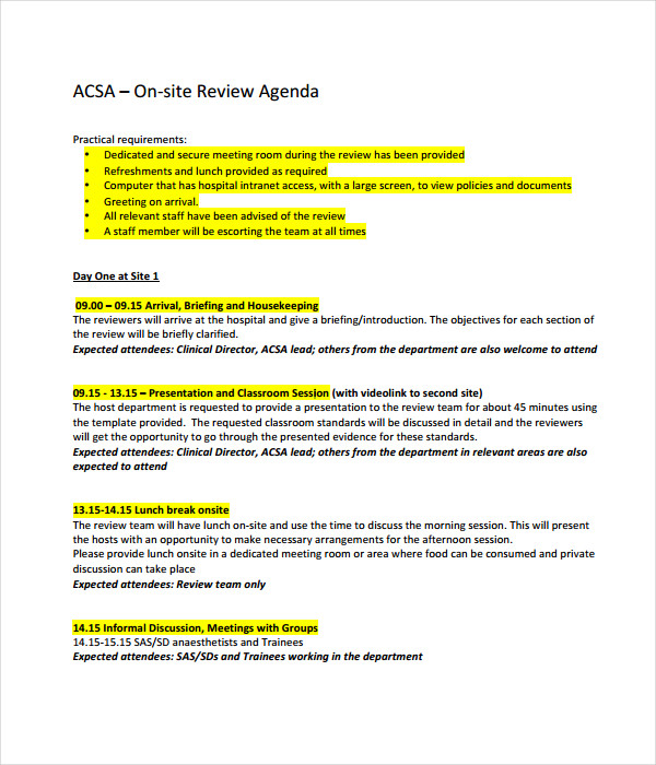 Review Agenda Template