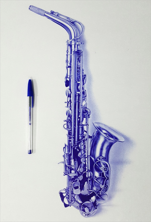 Saxophone Ballpoint Drawing