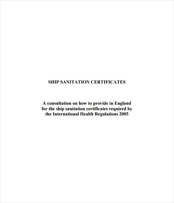 Ship Sanitation Certificate Template