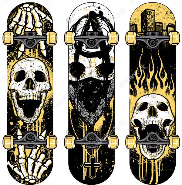 Skull Themed Skateboards Design