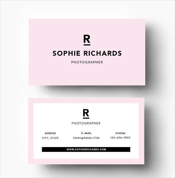 Stylish pink business card template