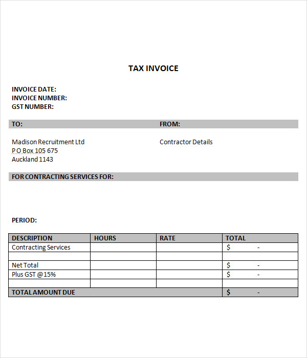 tax invoice template free download pdf