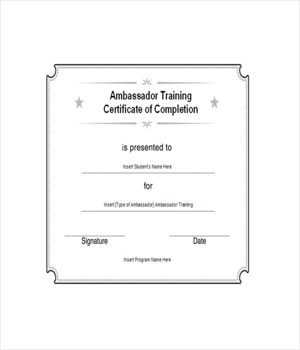 Training Certificate Of Ambassador