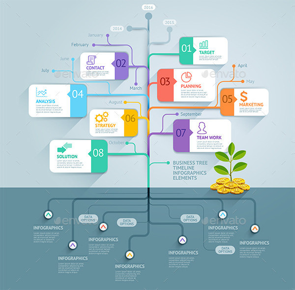 Tree Business Timeline Infography