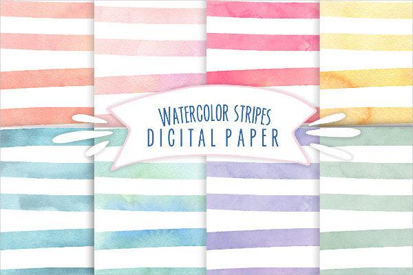 Watercolor stripes digital paper Pattern