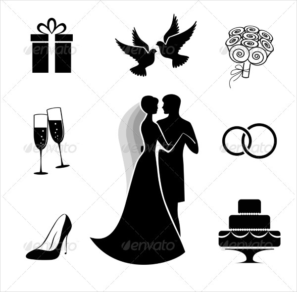 Wedding Icon Collection Isolated on White