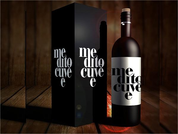 Wine Box Package Bottle Mockup