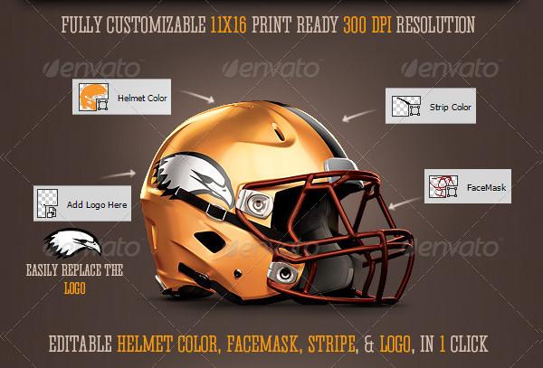 Editable Football Helmet Mockup