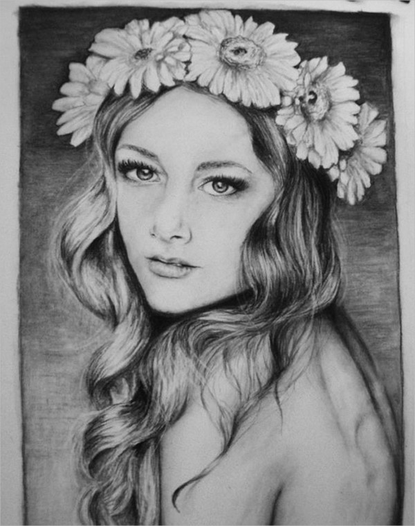 Flower Girl Drawing