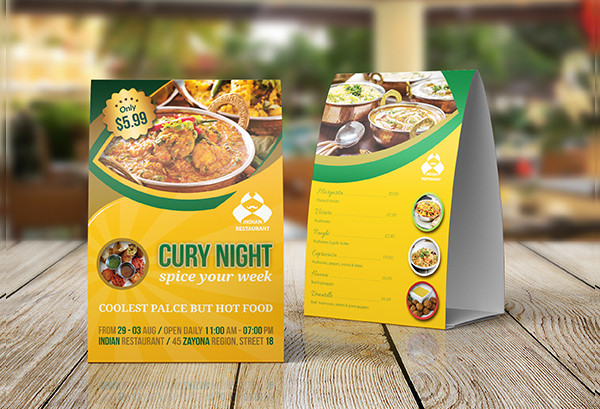 Indian Restarent Table Tent Template