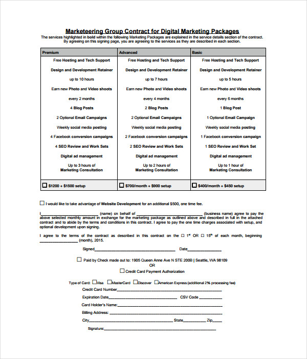 marketing group contract template
