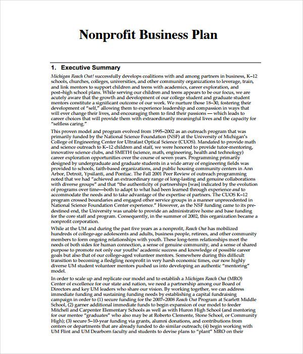 Non-Profit Business Plan Template