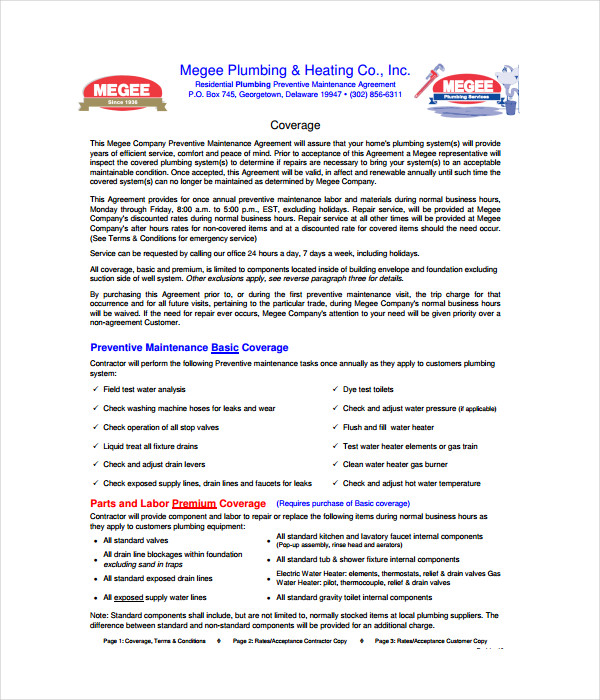 Writing service agreement for plumbing
