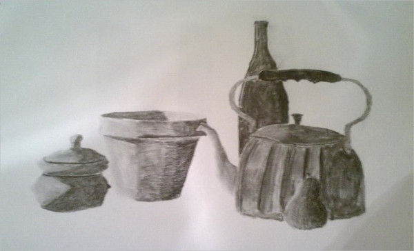 Still Life Charcoal Drawing