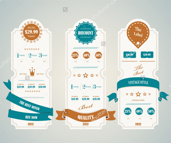 Vintage Table Of Pricing