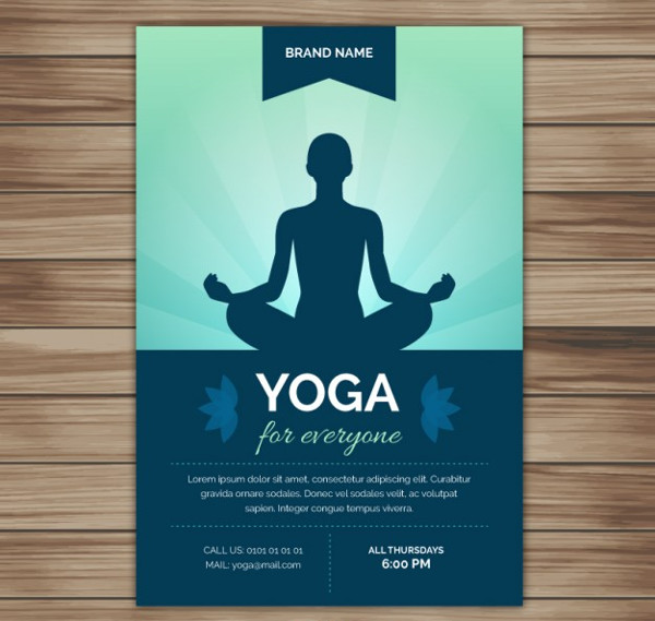 Yoga Silhouette Flyer Free Vector